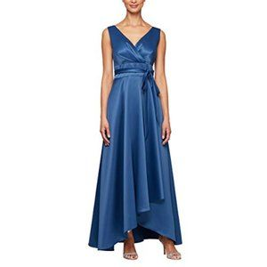 Alex Evenings Evening Dress Satin Sleeveless Gown